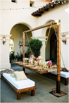 Things that you need for your home patio are random things based on what kind of patio that you need. When you use your home patio to be a comfortable area, you need the best patio furniture for it. Diy Para A Casa, Diy Casa, Hanging Furniture, Outdoor Garden Furniture, Furniture Ideas, Rustic Furniture, Furniture Design, Barbie Furniture, Furniture Layout