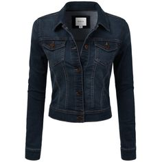 DRESSIS Womens Slim Fit Cropped Demin Jean Jacket ($20) ❤ liked on Polyvore featuring outerwear, jackets, dressy jackets, slim fit jackets, slim jacket, slim jean jacket and jean jacket