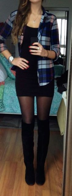 Love the classic black pantyhose  with black boots and black dress with a flannel shirt. So effing cute!!! Need to wear this ASAP. #needpantyhose