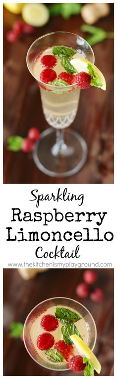 Cool, crisp, and light Sparkling Raspberry-Limoncello Cocktail is perfectly refreshing for those hot summer days.  www.thekitchenismyplayground.com