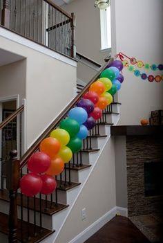 "Rainbow Balloons Birthday ""Katelyn's Balloon Bash"" via Catch My Party My Little Pony Party, Little Pony Birthday Party, Trolls Birthday Party, Rainbow Birthday Party, Art Birthday, Unicorn Birthday Parties, Birthday Balloons, Birthday Party Themes, Birthday Ideas"