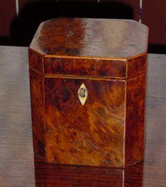 Antique tea caddy--beautiful wood burl veneer