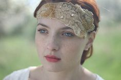 Bridal vintage lace headband - a gorgeous vintage floral lace with soft tulle is accented with sparkling rhinestones and also covered in hand sewn