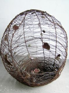 Origin alambre recocido, ceramic, wood, copper wire, mixed media, 110 x 80 x 80 cm. Sculpture by Tabitha Sheehn Davis