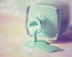 turquoise nail polish dripping - Fine art photography print