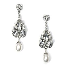 USABride Swarovski Crystal and Pearl Drop Earrings, Bridal Jewelry 1410