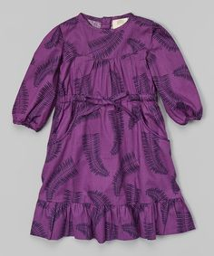Look at this Purple Fern Ruffle Organic Dress - Infant, Toddler & Girls on #zulily today!