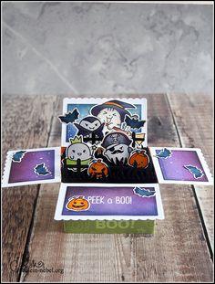 [Werkeltisch] Happy Insta Girls: Halloween BlogHop | fraeulein-nebel.org Lawn Fawn, Copic, Marker, Pop Up, Halloween Cards, Peek A Boos, Diy Cards, Cardmaking, Happy