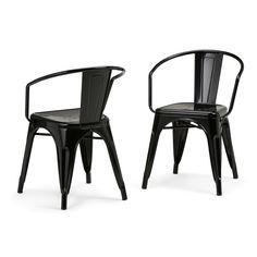 Larkin Metal Dining Arm Chair - Black - Simpli Home