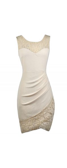 Lily Boutique Lace Trim Pencil Dress with Crossover Hem in Beige, $32 Beige Lace Pencil Dress, Cute Beige Dress, Beige Lace Trim Dress, Beige Lace Cocktail Dress www.lilyboutique.com
