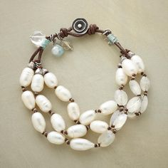 "BLUELIGHT BRACELET -- Naomi Herndon highlights cultured pearls and iridescent moonstones with glimmers of pale blue. Leather loop and sterling silver button clasp. Exclusive. Handcrafted in USA. Approx. 7-1/2""L."
