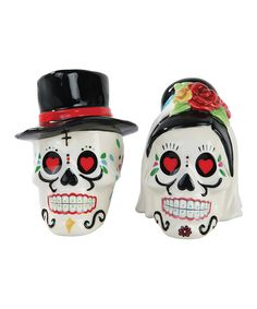Another great find on #zulily! Day of the Dead Wedding Skulls Salt & Pepper Shakers by Pacific Trading #zulilyfinds