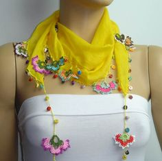SUMMER SALE Crocheted YELLOW scarf with handmade multi color oya flowers lace edge. $17.00, via Etsy.
