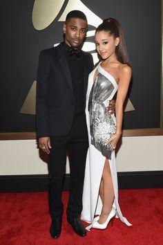 Premios Grammy: Big Sean en Saint Laurent, y Ariana Grande un vestido metálico recortado por Versace.