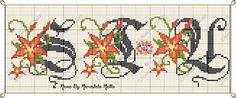 Artes e bordados da Sol: Monograma de Flores