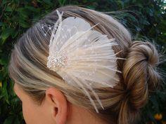 Bridal Headpiece Bridal fascinator Feather by ThereOnceWasAGirl, Bridal Fascinator, Bridal Headpieces, Veil Hairstyles, Wedding Hairstyles, Bridal Hair Accessories, Hair Dos, Hair Jewelry, Hair Pieces, Tiaras
