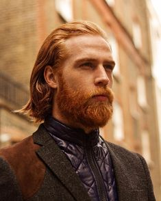 Gwilym Pugh - full red beard mustache beards bearded man men mens' style fall autumn clothing dapper fashion redhead ginger bearding #beardsforever