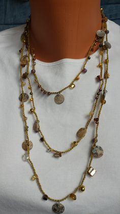 Long Hand Crocheted Necklace Shell Beads Crystals Lariat Layered Wrap by BEEDZnBAGZ by BEEDZnBAGZ on Etsy