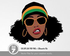 African American Woman with Sunglasses - svg cutting files + eps dxf pdf png + silhouette studio Black Girl Art, Black Women Art, Black Girl Magic, Art Girl, Manga Comics, Woman Silhouette, Silhouette Studio, Gangsta Girl, Black Art Pictures