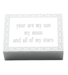 """"""" You are my sun, my moon, and all of my stars"""" personalized keepsake box -- perfect for keeping all those precious wedding day treasures safe!  -Reed & Barton - Silver Link White Box, Personalize"""
