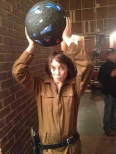 Maggie and the gaff tape ball on The Walking Dead set.