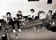 Poly Styrene with Sid Vicious, Nancy Spungen and John Lydon. Gunter Grove, Chelsea, 1978.