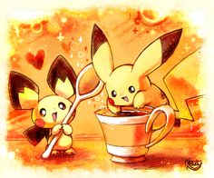 Coffee by kori7hatsumine.deviantart.com on @deviantART Pichu Pikachu Raichu, Cute Pikachu, Cute Pokemon, Pokemon Craft, All Pokemon, Pokemon Stuff, Pikachu Evolution, Powerful Pokemon, Pokemon Pictures