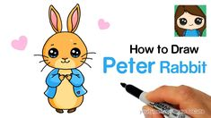 How to Draw Peter Rabbit Easy Drawing Lessons For Kids, Art Drawings For Kids, Disney Drawings, Cartoon Drawings, Easy Drawings, Cute Kawaii Drawings, Cute Animal Drawings, Drawing Animals, Rabbit Drawing Easy