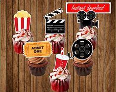 Movie Clipart Movie Night Clip Art Popcorn Clipart Cinema | Etsy Happy Birthday Banner Printable, Happy Birthday Banners, Birthday Party Themes, Birthday Ideas, Popcorn, Movie Party Decorations, Movie Clipart, Movie Night Party, Cupcake Toppers