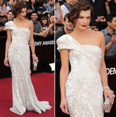 vestidos oscar 2012 milla jovovich Vestidos do Oscar 2012   Fotos