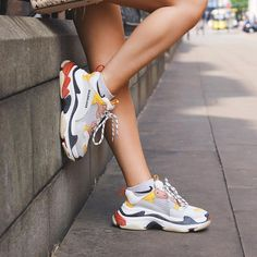 c87021183b Balenciaga Triple S Cream Yellow Red Dad Sneakers, Air Max Sneakers, Dad  Shoes,