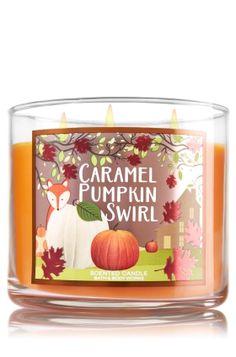 Caramel Pumpkin Swirl - 3-Wick Candle - Bath & Body Works - Maple Syrup, Golden Waffles, Pumpkin Spice, Brown Sugar