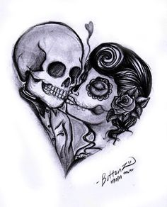 tattoo couple day of the dead inspired