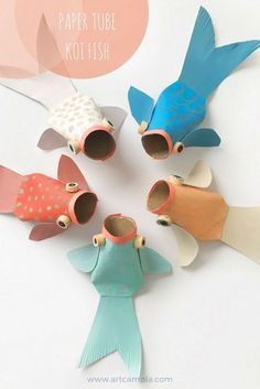 Paper tube koi fish recycled art ideas crafts for kids handmade toys lun idea exclusive picture of zoo animals coloring pages Kids Crafts, Jar Crafts, Creative Crafts, Decor Crafts, Quick Crafts, Craft Kids, Simple Crafts, Craft Art, Preschool Crafts