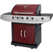 Brinkmann 5-Burner Gas Grill with Side Burner, Red