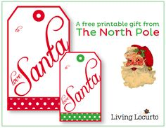"Free Printable ""From Santa"" Gift tags by Amy at LivingLocurto.com"