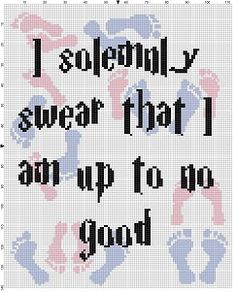 I solemnly swear that I am up to no good Harry Potter Cross Stitch pattern. Harry Potter Cross Stitch Pattern, Geek Cross Stitch, Cross Stitch Bookmarks, Crochet C2c Pattern, Crochet Blanket Patterns, Modern Cross Stitch Patterns, Cross Stitch Designs, Cross Stitching, Cross Stitch Embroidery