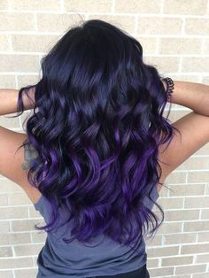 Deep purple balayage on a brunette! It's exactly what I wanted 💜 Deep Purple Hair, Light Blue Hair, Blue Ombre Hair, Hair Color Purple, Hair Dye Colors, Cool Hair Color, Dark Purple, Blue Hair Balayage, Pelo Color Vino