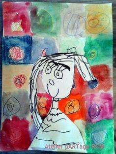 Kandinsky Circles and Autoportrait, 5 years old girl, Atelier pARTage Roquebrune Cap Martin