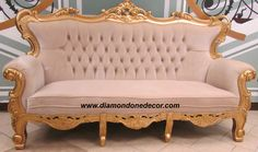 Also available are matching chair and loveseat. Hand-carved of mahogany, custom order in your choice of fabric, col Baroque Decor, Baroque Furniture, Dream Furniture, Italian Furniture, Bed Furniture, Furniture Design, Antique Couch, Victorian Sofa, Pastel House