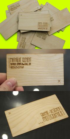 Hand Drawn Typography On A Laser Engraved Wooden Business Card