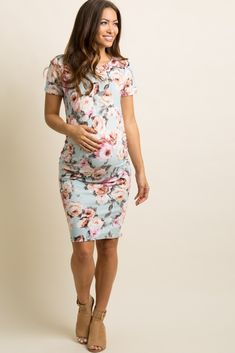 Light Blue Rose Floral Fitted Maternity Dress