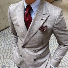 window pane plaid suit. light blue oxford. maroon tie. maroon patterned pocket square. dapper. style.