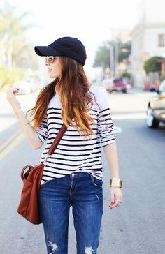 baseball cap and stripes.