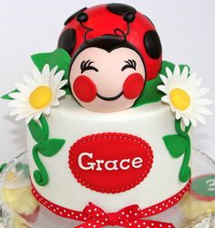 Ladybug Cake_cute face and Name Tag
