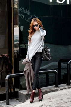 Leather Sleeve Loose Knit Mix
