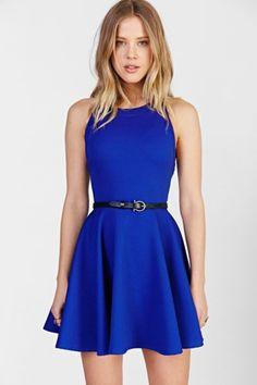 Kimchi Blue Textured Knit High-Neck Skater Dress