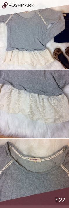 """Altar'd State Gray Top with Lace Lovely Gray long sleeve top from Altar'd State with Ivory Lace trim and bottom. Armpit to armpit is 15.5"""". Length from shoulder to bottom of Lace is 22"""". Altar'd State Tops Blouses"""