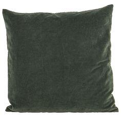 Bawełniana poduszka dekoracyjna z aksamitnym wykończeniem z kolekcji skandynawskiej marki House Doctor w kolorze ciemnej zieleni.