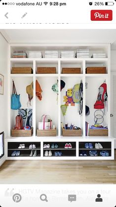 smart mudroom ideas to improve your homeMUDROOM IDEAS - The mudroom is a very important part of your home. With Mudroom you can keep your entire home clean and tidy. Mud room or you Mudroom Cubbies, Mudroom Laundry Room, Mudroom Benches, Mud Room Lockers, Mudroom In Closet, Garage Lockers, Mud Room Garage, Kids Cubbies, Entry Closet